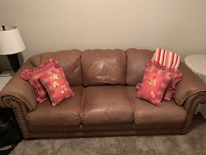 Leather Sleeper Sofa (queen) for Sale in Charlottesville, VA