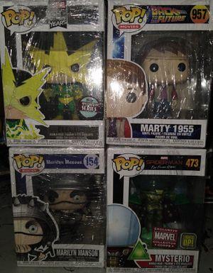 Funko Pop: Electro 545; Marty 1955 957; Marilyn Manson 154; Mysterio 473 for Sale in El Paso, TX