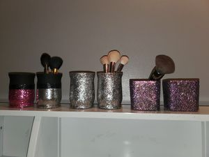 Set of 6 holders glass glitter for Sale in Victoria, TX