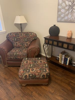 Leather chair , ottoman and metal sofa table for Sale in Gilbert, AZ