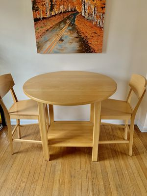 Crate and Barrel High Top Counter Height Drop Leaf Round Birch Kitchen Table and Chairs for Sale in Portland, OR