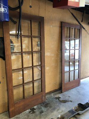 Antique vintage wooden glass pane doors pair for Sale in Riverside, CA