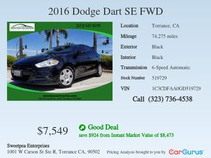 2016 Dodge Dart for Sale in Torrance, CA