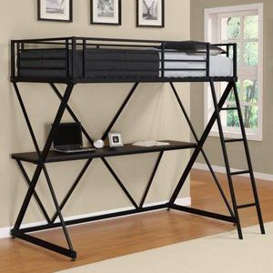 X Twin Metal Loft Bed Over Desk Workstation, Black with mattress for Sale in Houston, TX