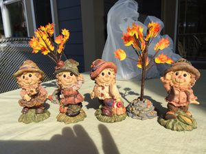 Ceramic Scarecrows and trees, table decorations for Sale in Virginia Beach, VA