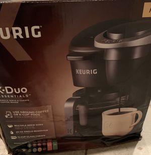 Keurig K-Duo Essentials Coffee Maker, with Single Serve K-Cup Pod and 12 Cup Carafe Brewer, Black for Sale in Alexandria, VA