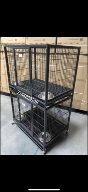 Double stackable dog pet cage kennel size 37 medium with plastic floor grid tray and wheels for Sale in Pomona, CA