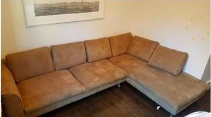 Beige / Brown Microsuade 2-Piece Sectional Sofa - $550 (TriBeCa) for Sale in New York, NY