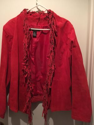 Cleaning Closet Sale- Sz. Lg.Suede Fringed Jacket for Sale in Westfield, MA