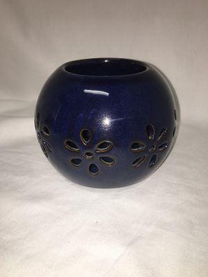 Navy Blue & Brown Bronze Trim Floral Candle Holder for Sale in El Mirage, AZ