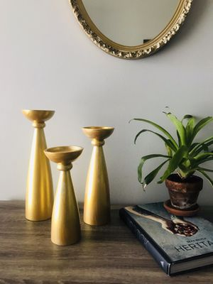 Brushed Gold Pillar Candle Holders for Sale in Charleston, SC