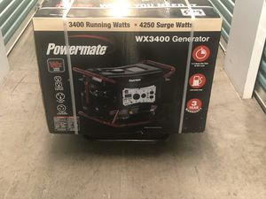 Powermate WX3400 Portable Generator Brand New RV Tailgating Camping Detailers Tools 3400 watts / 4500 peak / surge watts for Sale in Tamarac, FL