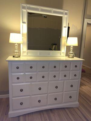 Queen bed set dresser nightstand and bed frame for Sale in Phoenix, AZ