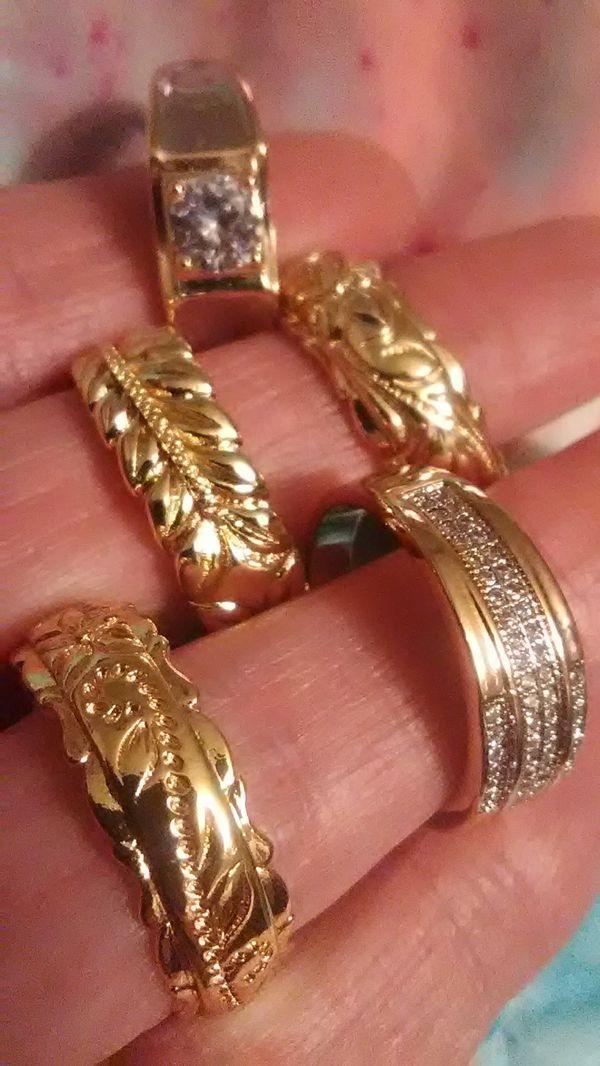 Wedding bands 18K gold over 925 Sterling