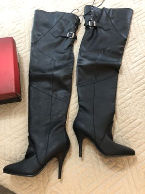 Pleasers- size 8 thigh high boots lace up on top back for Sale in Hurst, TX