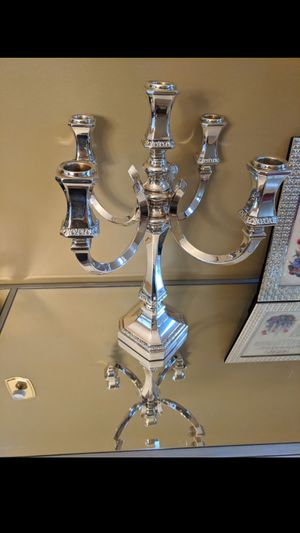Candelabra candle stick holder real stearling Silver 5 branch candelabra 5 branch sterling silver candlestick holder ST925 HADAD for Sale in Cherry Hill, NJ