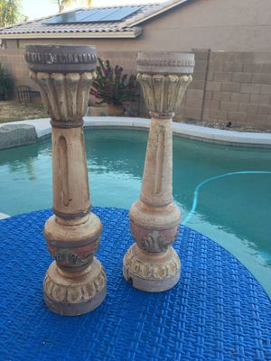 """Rustic solid wood candle sticks holders farmhouse accent wood decor carved wood 16"""" tall for Sale in Glendale, AZ"""