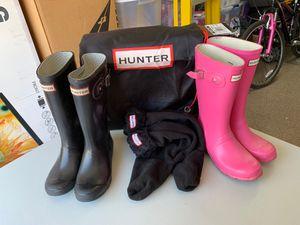 Hunter set (2 rain boots, pair of socks, bag) for Sale in San Jose, CA