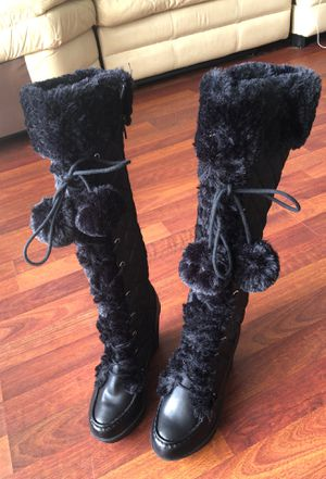 Black Knee High Wedge Fur Boots for Sale in Tampa, FL