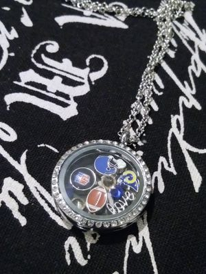 Rams charm football floating locket necklace for Sale in Long Beach, CA