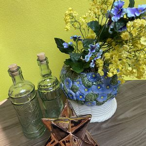 Pottery~Flower Pot with 2 Glass Bottles & Fragrance Star-Shape Decor for Sale in Anaheim, CA