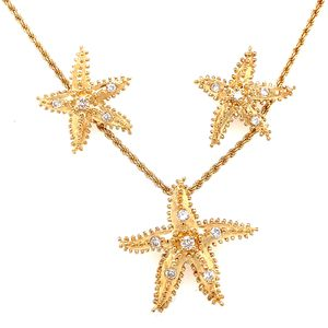 14k Diamond Starfish Necklace and Earrings Set for Sale in Alexandria, VA