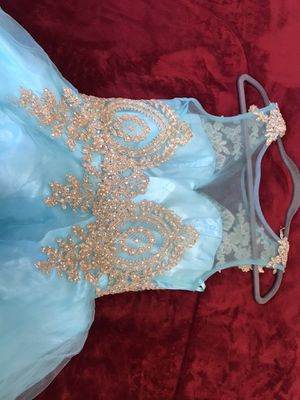 Baby blue and gold tea cup dress for Sale in Hesperia, CA