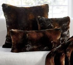 Pottery Barn Faux Fur Throw and 2 Pillows