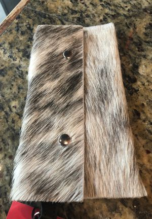 Beaudin designs 'Hair in Hide' genuine leather phone/card large wristlet for Sale in Columbus, GA