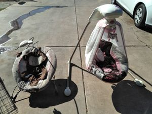 Baby crib. bouncer. babyswing. diapers size 2. babychair. diaper trash can. for Sale in Phoenix, AZ