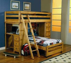 Bunk Bed, twin, solid wood, built in storage and desk for Sale in Sunrise, FL
