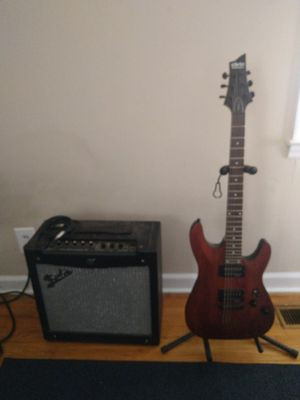 Schecter diamond series omen 6 guitar, Fender Mustang 2 amp, cable and stand for Sale in Northport, AL