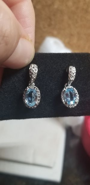 DIAMOND WITH BLUE TOPAZ DANGLE EARRINGS for Sale in Fairfax, VA