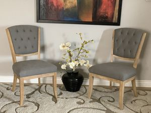Elegant modern set of two gray tufted chairs for Sale in Peoria, AZ