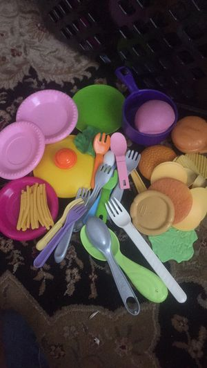 Play food,plates and utensils for Sale in Frederick, MD