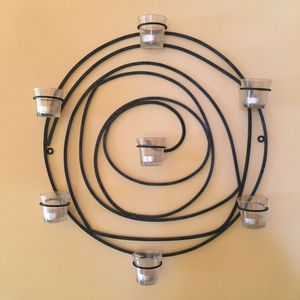 Wrought iron circular wall art sconce & candle holder décor for Sale in Los Angeles, CA