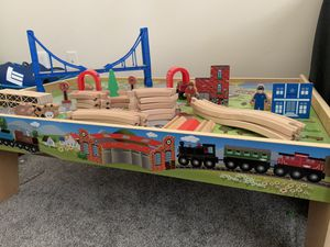 Wooden train set with table for kids Used for Sale in Atlanta, GA