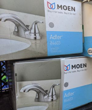New Moen Chrome 4in Center Bathroom Faucets $40 each!! Firm!! for Sale in Fontana, CA
