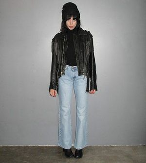 Vintage Fringe Black Leather Motorcycle Jacket Size LARGE Punk Goth Women's Unisex for Sale in Revere, MA