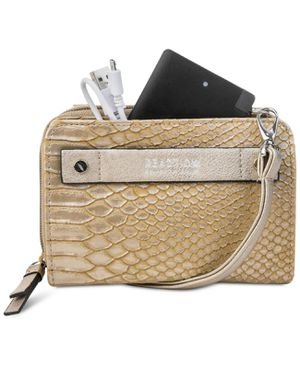 Kenneth Cole Reaction Crossbody Wallet 24″ Strap Embossed Leather Snake (Antique Gold, One Size) for Sale in Virginia Beach, VA