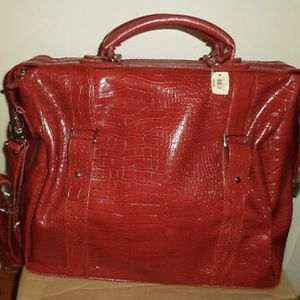 B&BW Red Faux Croc Leather Carry On Weekend bag for Sale in New Braunfels, TX
