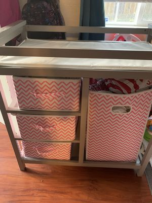Grey changing table with storage drawers for Sale in Vallejo, CA
