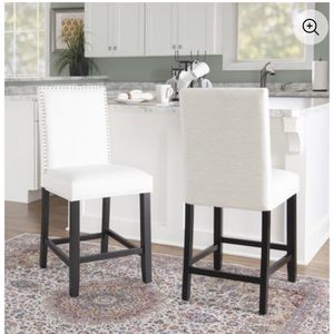 Linon Stewart Pearl Fabric Counter Stool, Black Frame, 24 inch Seat Height, -SET OF 2 for Sale in Mount Laurel Township, NJ