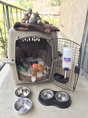 Dog Crate, bed, food plates, toys, shirts for Sale in Los Angeles, CA