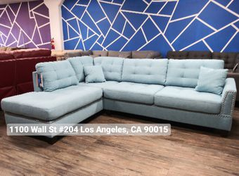 REAL SHOWROOM 😁 WE FINANCE - BLUE L SHAPE REVERSIBLE CHAISE COUCH SOFA SECTIONAL WITH OTTOMAN MODERN COUCHES for Sale in Los Angeles,  CA