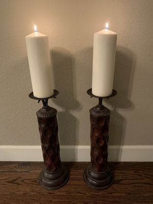Pair of bronze candle holders for large pillar candles for Sale in Littleton, CO