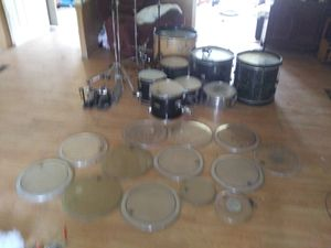 Drum set with three bass drums one snare an everything but.the symbols an.drum sticks for Sale in Denham Springs, LA