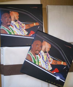 2Pac's Final Photo Cartoon 8x8 canvas print for Sale in Chico, CA