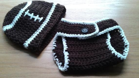 Baby Football Sports Fan Beanie Hat and Diaper Cover-Custom Personalized Unisex Photo Prop Adjustable