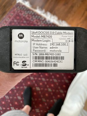 Motorola modem - mb7420 and media like router for Sale in Houston, TX